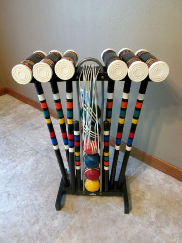 """Vintage """"FOSTER"""" 6 Player Croquet Set - Made In The USA - Complete"""