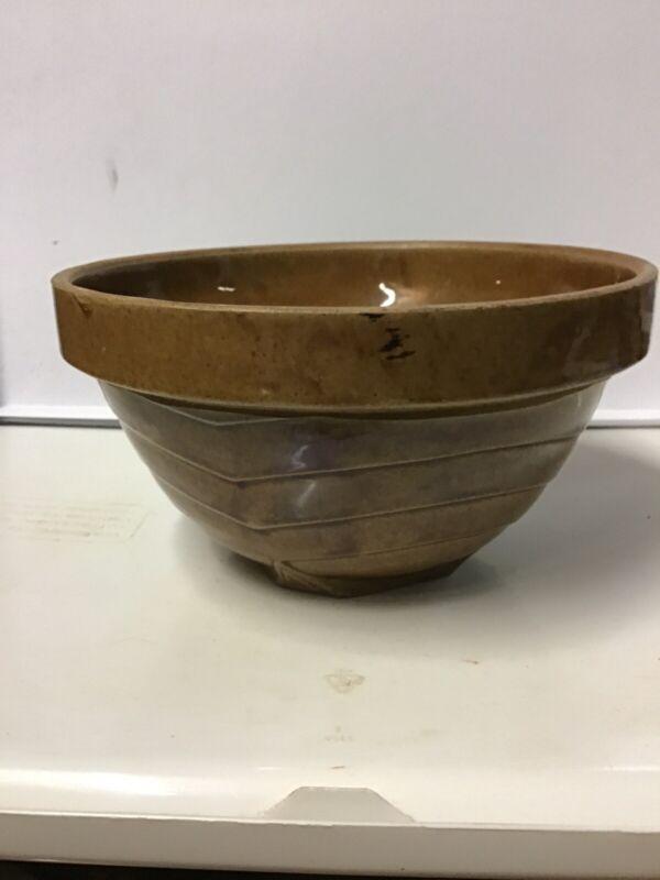 Vintage/Antique Brown Crock Bowl, Dough Bowl,Primitive Pottery Farmhouse Kitchen