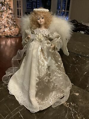 """Christmas angel tree Topper gold Ivory lace and pearls 12"""""""