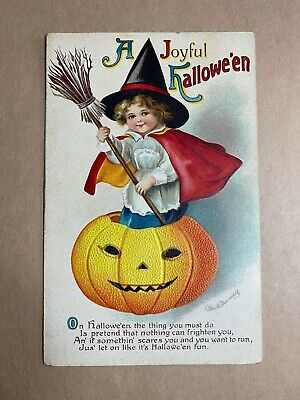 VTG HALLOWEEN POSTCARD - CLAPSADDLE - LITTLE WITCH IN JOL - early 1900s