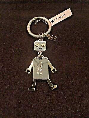 NWT Coach Robot Gold Silver tone Key Chain. Dust bag included. F65429**AUTHENTIC