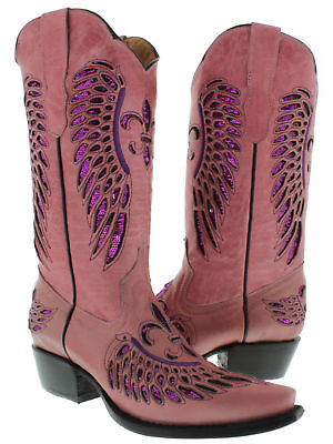 Cowgirl Formal Wear (Womens Pink Fuchsia Flower Sequins Leather Cowgirl Boots Rodeo Wear Pointed)