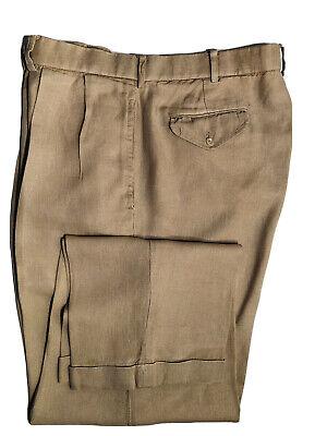 Ralph Lauren Men's 100%  Linen Pants 36 x 30 Beige Pleated Front Cuffed Legs E