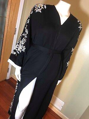 Black Fancy Khaleeji Abaya Button Up Dubai Jilbab with Lace Size S, M, L, XL
