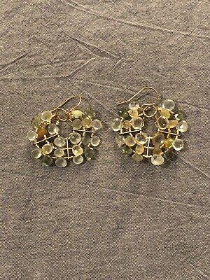 Gas Bijoux Anthropologie Green Gold Beaded Earrings