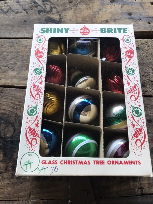 Vintage Christmas Shiny Brite Box of 12 Small Glass Ornaments Bells Balls +