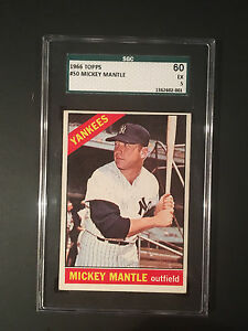 Mickey Mantle 1966 Topps baseball card #50 SGC EX 5