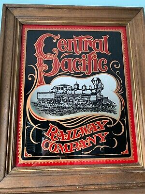 Vintage Central Pacific Railroad Company Framed Mirror RARE Train Railway *READ*