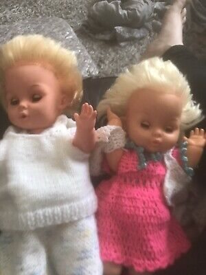 Two Vintage Palitoy Tiny Tear Dolls Made In England