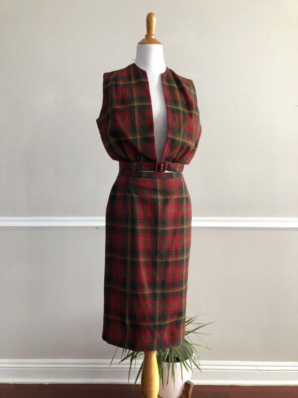 Vtg 60s HIGHLAND QUEEN 2pc Maple Leaf Tartan Pencil Skirt Vest Set Plaid Wool