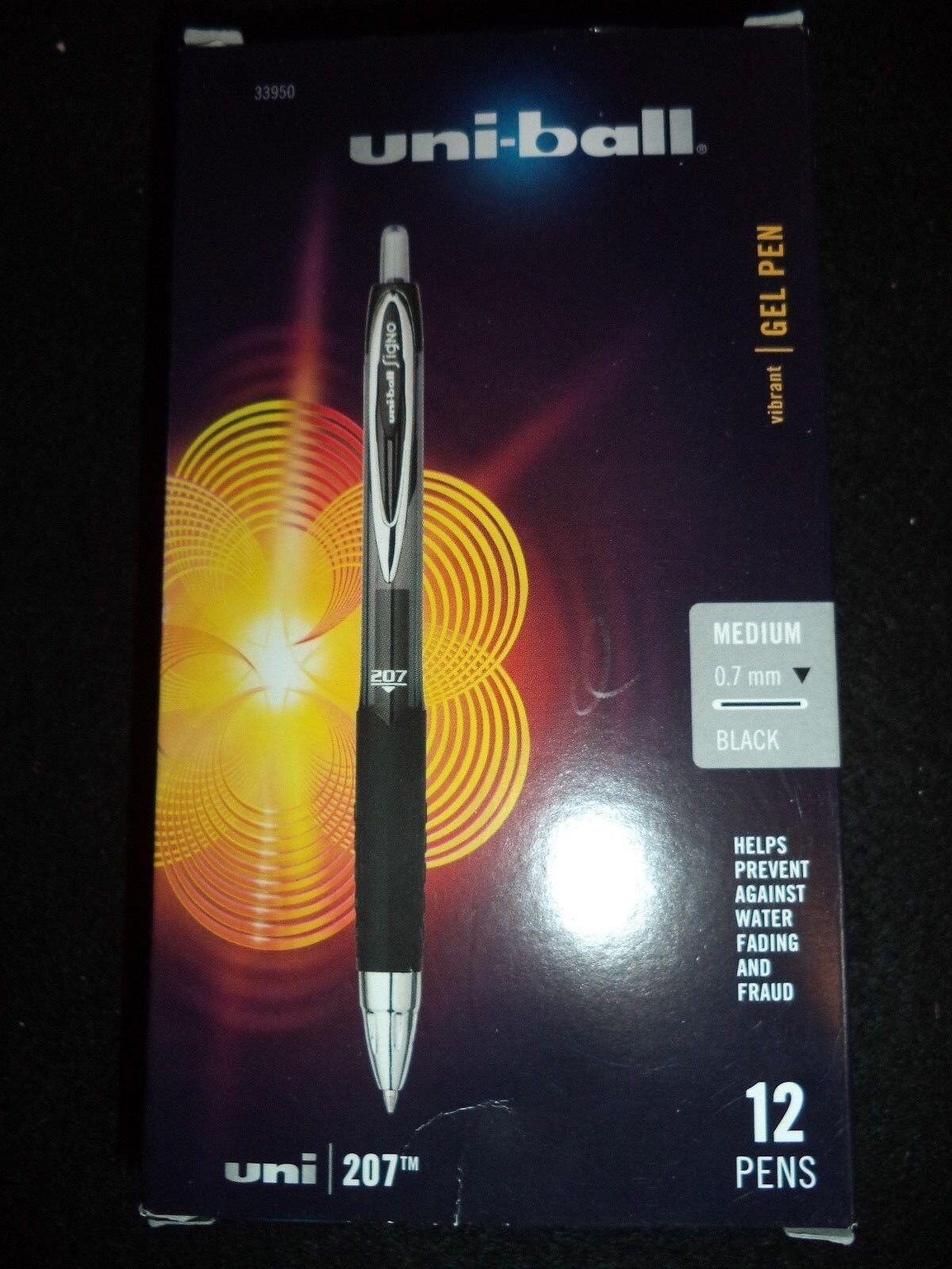 uni-ball 207 Retractable Gel Pens, Medium Point, Black, Box