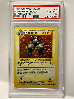 Pokemon Shadowless Magneton PSA 8 Gem Mint Holo Rare 9/102 Base Set card