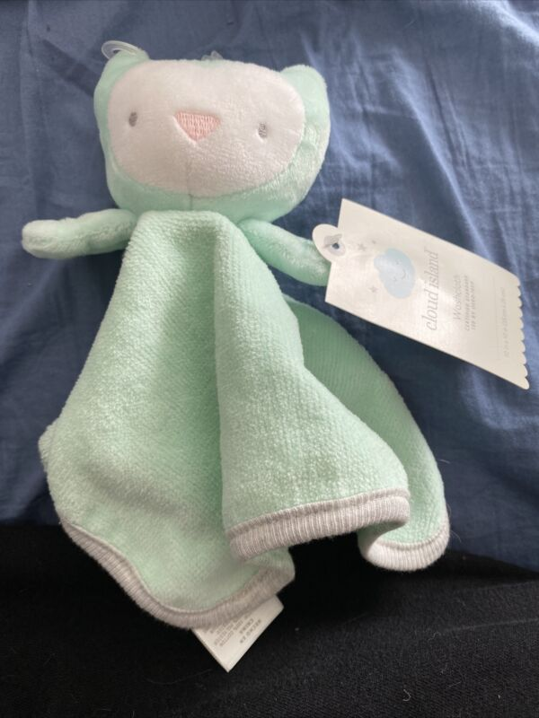 Baby Owl Washcloth - Cloud Island  Mint Green One Size Infant 10 In X 10 In
