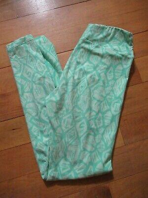 LuLaRoe OS Leggings Lime Mint Green Floral Women's Stretch Geometric