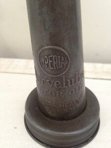 Antique Marvelube imperial glass oil bottle spout gas can sign