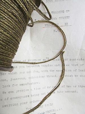 "Vintage Antique French Gold Metallic Soutache Braid Trim 1/8"" Military 3yd"