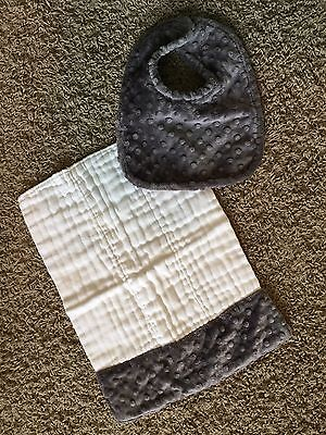 Grey Minky Dot Bib And Burp Cloth