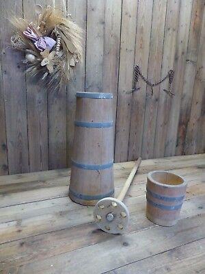 altes Butterfass mit Stampfer Butterschleuder Butterstampfer Holz Butterschläger