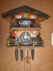 German made working SEE VIDEO musical Chalet Trumpeter 1 Day Cuckoo Clock CK1523