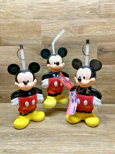 Vintage Mickey Mouse Lot Of 3 Super Sippers & Big Sipper Cup (2 With Tags)