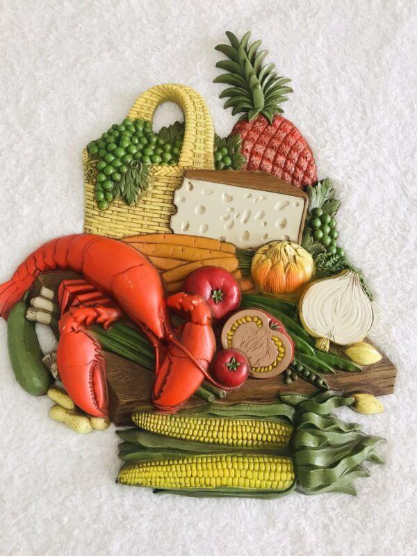 Vtg 1970s Retro Burwood Lobster Cheese Vegetables Molded Plastic Kitchen Cottage