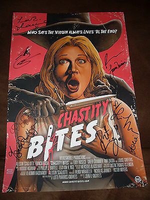 Chastity Bites 11 x 16 1/2 mini poster signed by director, writer & 7 cast