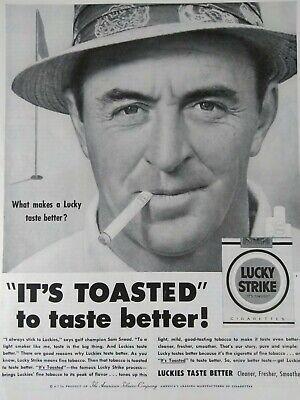 Lucky Strike Cigarette Original Vintage Print Ad 1954 Tobacco Sam Snead Golf