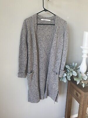 Athleta Marled Wool Sweater Cardigan Coat  Gray And Black Specked Size X Small