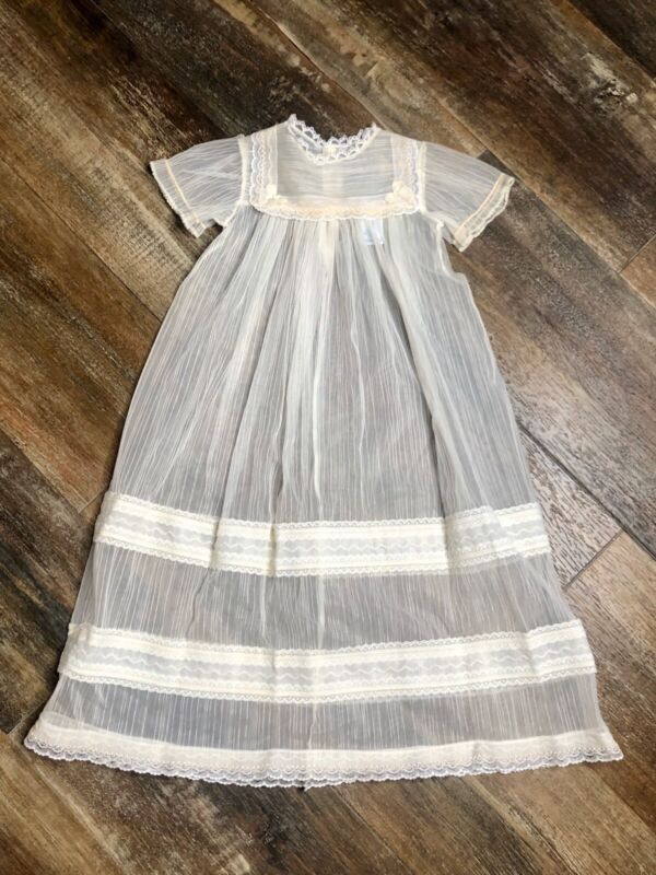 Vintage Christening Sheer Lace Ivory Cream baby gown Styled By Shepard Euc