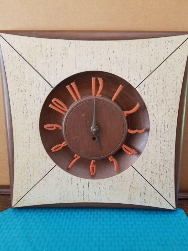 "MCM Burwood Products Mid Century Diamond Sunburst Wall Clock 16"" X 16"""