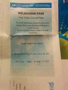 2 x General Admission Access Australian Open Tennis 1 days Carlton Melbourne City Preview