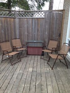 Patio set with rolling bar cart (chairs store inside cart)