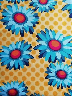 Michael Miller-daisy (Michael Miller Daisy Dots Teal Mustard burgundy blue 1 yard cotton fabric)