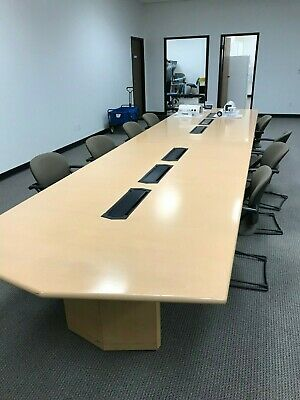 Nice 18 Maple Conference Table With Power