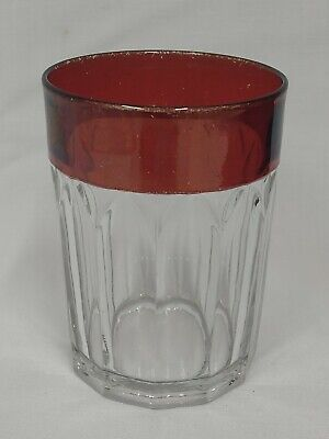 EAPG Ruby Stained OLD COLONY New Martinsville No 97 Pattern Glass Water TUMBLER