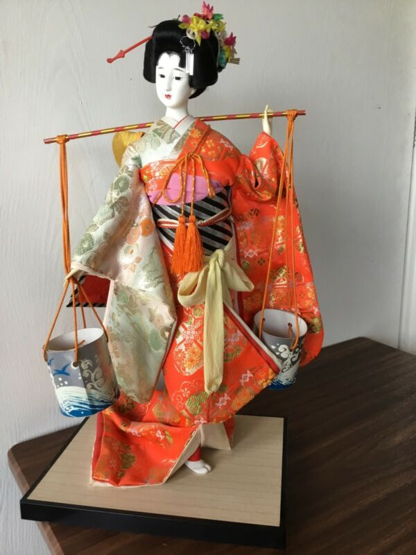 "JAPANESE GEISHA GIRL FIGURE DOLL STATUE 18"" Japan"