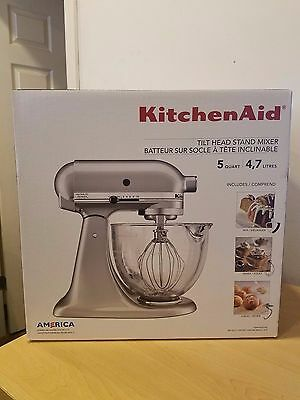 Brand New KitchenAid 5 Qt Stand Mixer w/Glass Bowl - Metallic Chrome KSM105GBCMC
