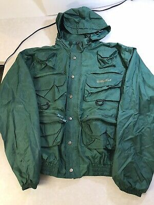 Vintage River Run Waterproof Hunting Fishing Hiking Coat Utility SAFARI 12 Pocket Hooded Photo Jacket L