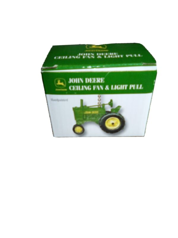 New in box John Deere Tractor Ceiling Fan and Light Pull Handpainted MIP