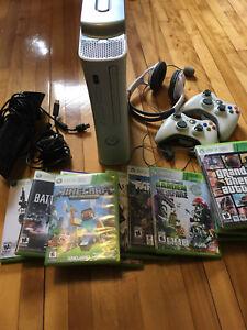 Xbox 360, 14 jeux + 2 manettes +kinect et casque avec micro