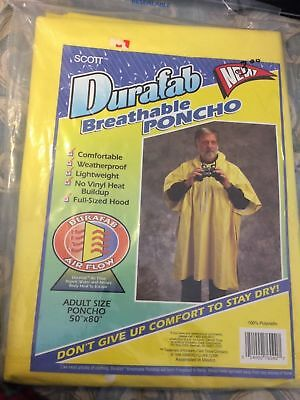 Yellow Rain Poncho ( Breathable Rain  Poncho.  New Yellow Adult Size)