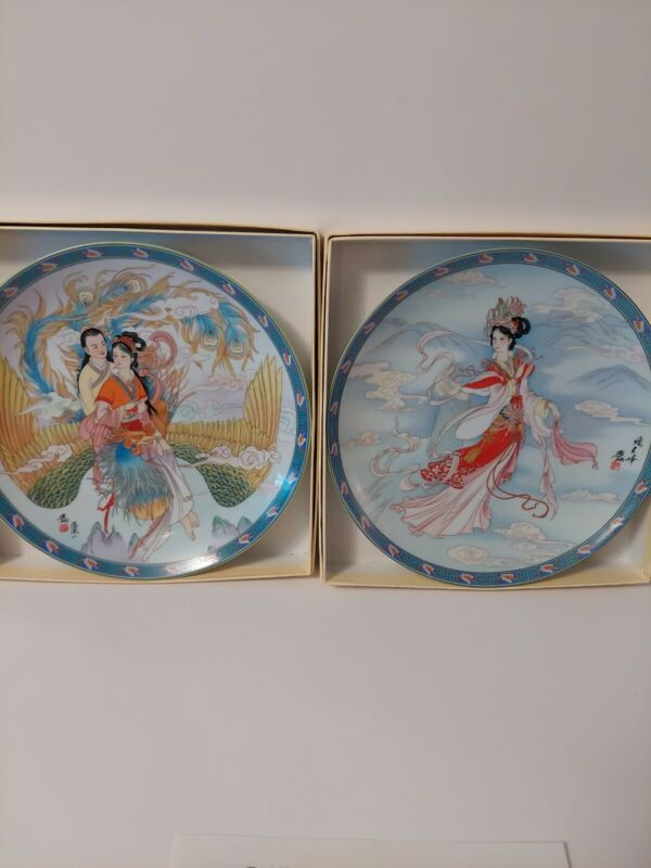 2 Imperial Jingdezhen Porcelain Plates   1991 Legends Of The West Lake 1 W/ COA