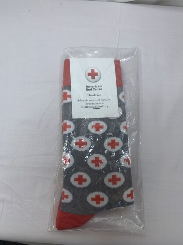American Red Cross Socks - Gray, Red and White - New