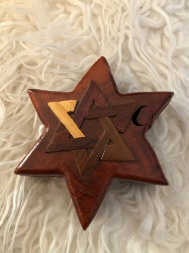 Jewish Star of David Carved Wood wooden Keepsake intarsia Puzzle Box Jewelry New