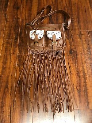 BoHo Hippie Chic Faux Leather Brown Fringe Cream Embroidery Cross Body Bag Purse