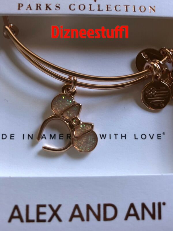 Disney Alex & And Ani Minnie Mouse Headband Rose Gold Bracelet