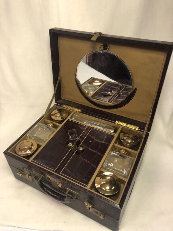 Vintage Luggage Trip Mode Faux Alligator Travel Case WITH ORIGINAL BOTTLES