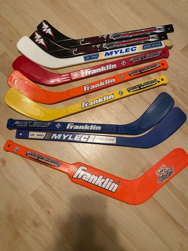 Set Of 9 Mini Hockey Sticks Shot Zone Franklin Mylec