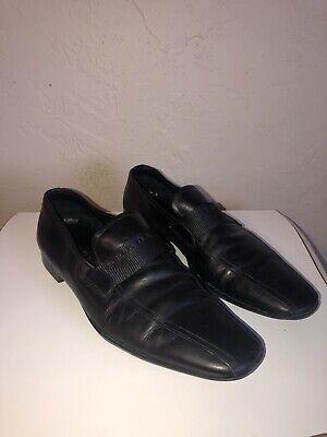 VTG Prada Men's Soft Leather Slip On Spellout Strap Loafers Black Size 8.5