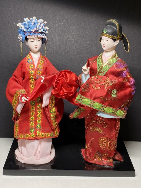 Vintage Chinese Princess Style Geisha Dolls Figurines Black Stand Made In China